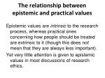the relationship between epistemic and practical values