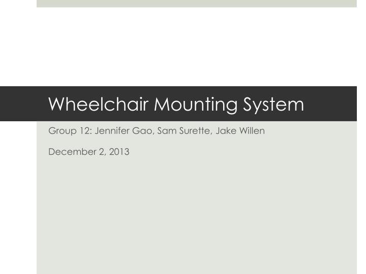 wheelchair mounting system n.