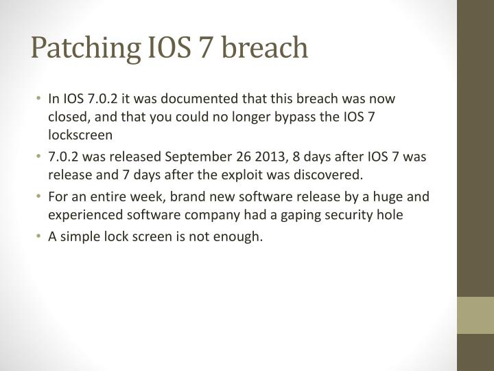 Patching IOS 7 breach