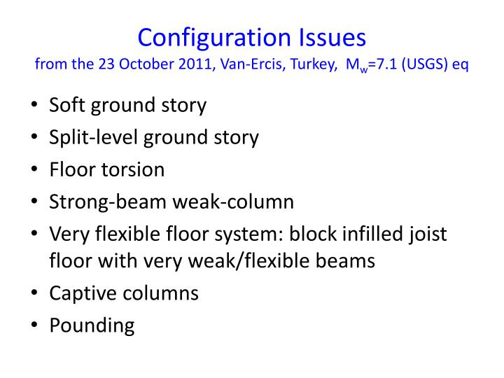configuration issues from the 23 october 2011 van ercis turkey m w 7 1 usgs eq n.