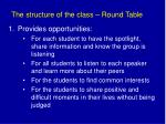 the structure of the class round table