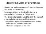 identifying stars by brightness