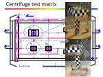 centrifuge test matrix
