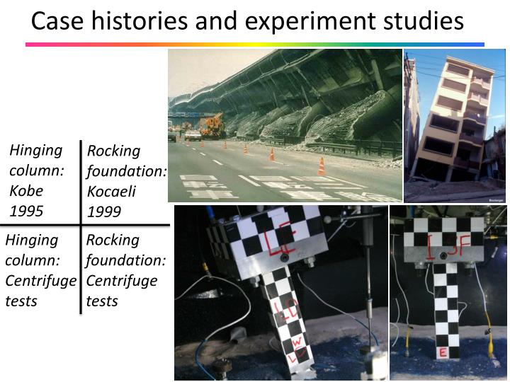 Case histories and experiment studies