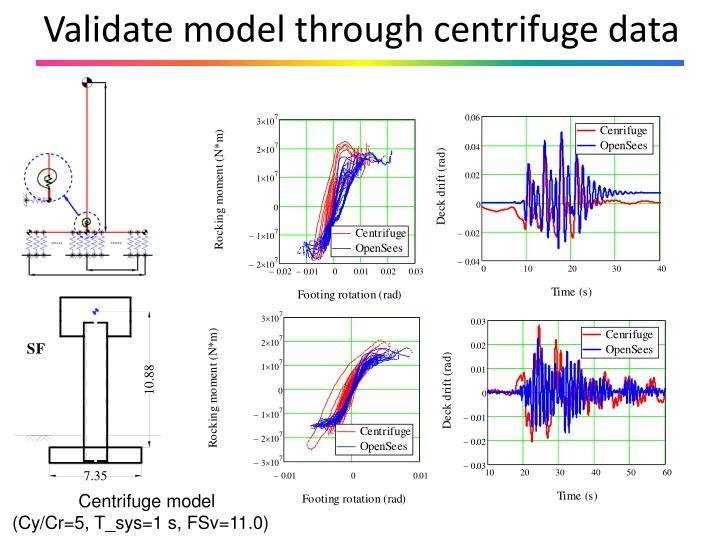 Validate model through centrifuge data