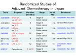 randomized studies of adjuvant chemotherapy in japan