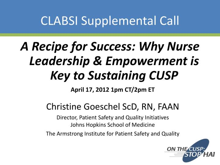 clabsi supplemental call n.