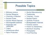possible topics