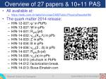 overview of 27 papers 10 11 pas