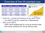 overview of five hi oriented runs