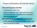 future of dynamics ax and the cloud