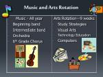 music and arts rotation
