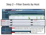 step 2 filter events by host