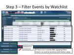 step 3 filter events by watchlist