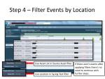 step 4 filter events by location
