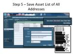 step 5 save asset list of all addresses
