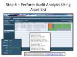 step 6 perform audit analysis using asset list