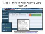 step 6 perform audit analysis using asset list1