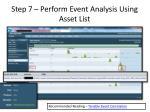 step 7 perform event analysis using asset list