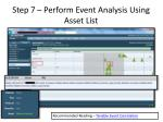 step 7 perform event analysis using asset list1
