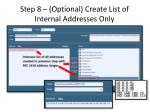 step 8 optional create list of internal addresses only