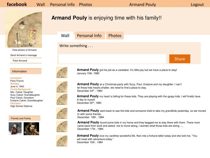 PPT - facebook Wall Personal Info Photos Armand Pouly Logout