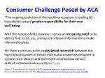 consumer challenge posed by aca