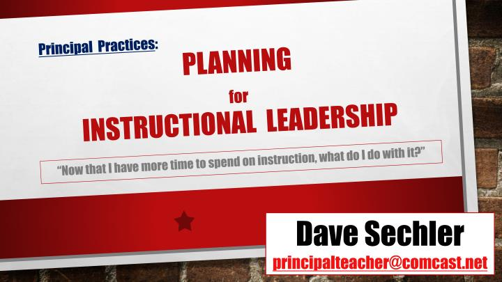principal practices planning for instructional leadership n.