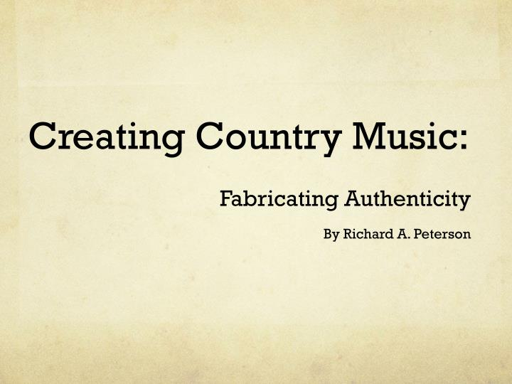 creating country music n.