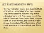 new assessment regulation