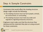 step 4 sample constraints