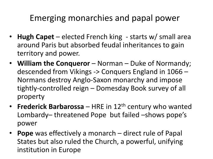 Emerging monarchies and papal power