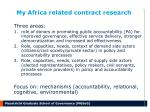 my africa related contract research