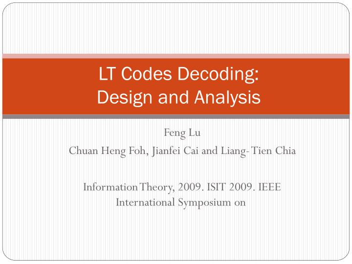 lt codes decoding design and analysis n.