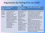 argumento de failing firm no cade iv