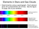 elements in stars and gas clouds