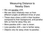 measuring distance to nearby stars