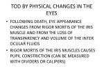 tod by physical changes in the eyes