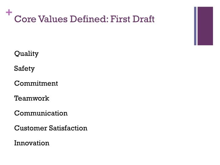 core values defined first draft n.
