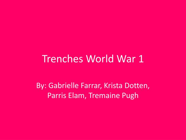 trenches w orld war 1 n.