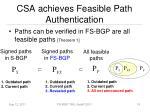 csa achieves feasible path authentication