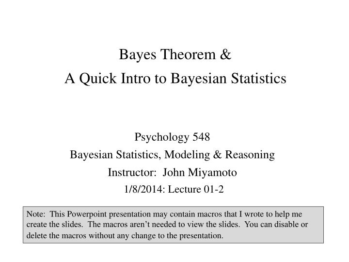 bayes theorem a quick intro to bayesian statistics n.