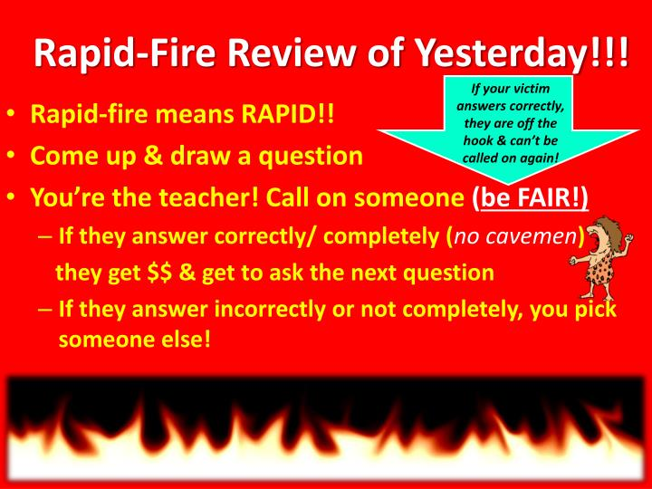 rapid fire review of yesterday n.