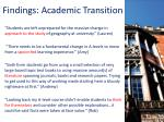 findings academic transition