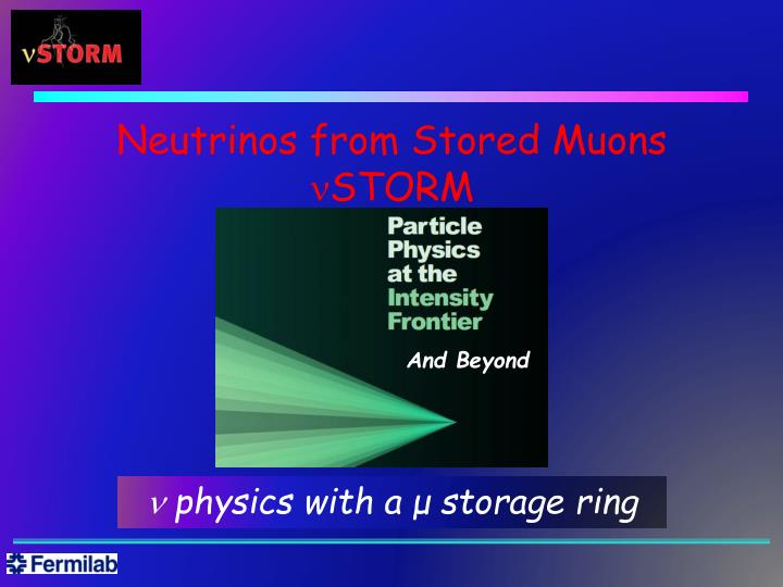neutrinos from stored muons n storm n.