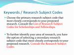 keywords research subject codes