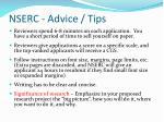 nserc advice tips