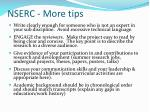 nserc more tips