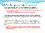 ogs more words of advice