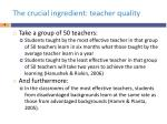 the crucial ingredient teacher quality